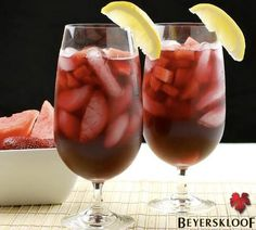 Strawberry-Watermelon Red Wine Sangria - a light and refreshing summer cocktail. My two fave fruits! Red Wine Sangria, Summer Sangria, Refreshing Summer Cocktails, Fun Cocktails, Summer Drinks, Fun Drinks, Cocktail Drinks, Cocktail Parties, Alcoholic Beverages