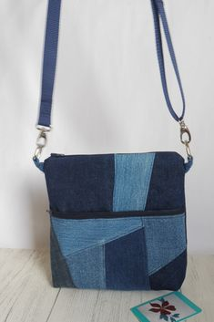 This zipped crossbody bag is made from upcycle denim with the front zipped pocket featuring crazy patchwork. A unique bag, made with care and attention to detail! Patchwork Bags, Crazy Patchwork, Denim Patchwork, Patchwork Designs, Quilted Bag, Tote Purse, Crossbody Bag, Eco Friendly Bags, Belt Bags
