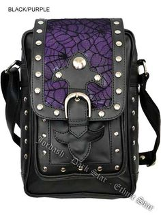 Dark Star PVC Black and Purple Cobweb Stud Gothic Shoulder Bag [DS/BG/7463P] - $52.99 : Mystic Crypt, the most unique, hard to find items at ghoulishly great prices!