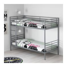 """SVÄRTA Bunk bed frame, silver color silver color Twin -- don't love this bed but has a matching trundle. Length: 78 """" (198 cm)  Width: 40 1/2 """" (103 cm)  Height: 62 5/8 """" (159 cm)  Mattress length: 74 1/2 """" (189 cm)  Mattress width: 38 """" (97 cm)"""
