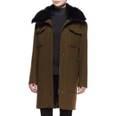 Theory Yvoia Bolton Coat W/Fur Trim ($836) ❤ liked on Polyvore featuring outerwear, coats, army, fur trimmed coat, oversized collar coat, long sleeve coat, theory coat and army coat