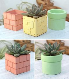 These Nintendo are customized with extra features such as a new glossy coating and super bright LED lights. Clay Crafts, Home Crafts, Concrete Crafts, Concrete Planters, Geek Decor, Plant Decor, Diy Crafts To Sell, Flower Pots, Flowers
