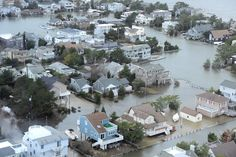 Aerial views of shore devastation - Harvey Cedars on the bay side of Long Beach Island on the Jersey shore