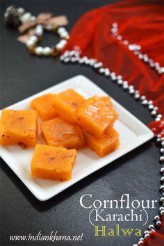 Popular Cornflour Halwa or Karachi (Bombay) Halwa under 15mins, makes great sweet for Diwali, Karwa Chauth or any festival, kids will love this one