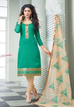 Classy Green & Beige Churidar Salwar Suit Dress Material-2007