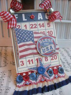 vintage style of july LARGE FLAG bingo card altered plaque sign decoration Patriotic Symbols, July Crafts, Bingo Cards, Scrapbook Embellishments, Patriotic Decorations, Happy 4 Of July, Card Tags, Tag Art, Fourth Of July