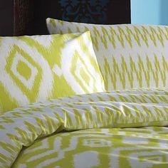 Lime 'Ikat' bed linen by Julien Macdonald