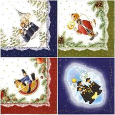 4 Single Table Party Paper Napkins for Decoupage Decopatch Craft X-mas Miniature