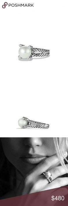 David Yurman cable pearl ring with diamonds Sterling silver White cultured freshwater pearl,10-10.5mm diameter Pave diamonds, 0.05 total carat weight Ring, 4mm wide Split-Shank size 6.5  STYLE NUMBER:R08991DSSDPEDI  Comes with Nordstrom silver box  Perfect condition David Yurman Jewelry Rings