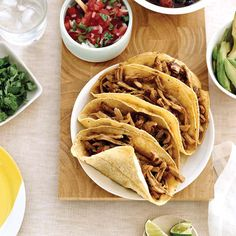 Soft Pork Tacos with Spicy Black Beans | Black beans are rich in cholesterol-lowering fiber and loaded with protein, as is pork tenderloin, a very lean cut.