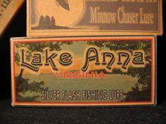 Lake Anna Virginia lake house fishing cabin decor lure boxes. $18.75, via Etsy.