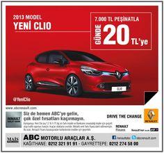 YENİ RENAULT CLIO 7.000 TL PEŞİNATLA GÜNDE 20 TL'ye ABC'de...