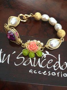 Pulseras moda perlas piedras naturales laminado joyeria bisutería accesorios mayoreo 6444089134