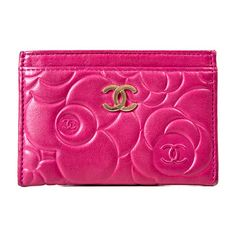 Pre-Owned Pink Leather Card Holder (1 200 PLN) ❤ liked on Polyvore featuring bags, wallets, pink, chanel wallet, chanel bags and chanel