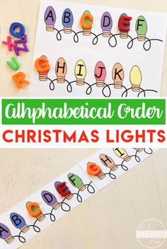 FREE Alphabetical Order Christmas Lights - this is such a fun hands on alphabetizing activity for preschool prek and kindergarten age children with a fun Christmas theme! around the world preschool theme Alphabetical Order Christmas Lights