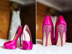 Hot pink wedding shoes - photo by Figlewicz Photography
