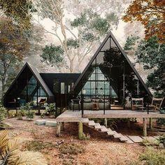 "Trucos para Decorar on Instagram: ""Feliz inicio de semana 😍 #lluviaenbarcelina #rumboofi #mojada #love #deco #decoracion #interiordesign #interiorismo #interiores #decor…"" Cabins In The Woods, House In The Woods, Cabin Design, House Design, A Frame House Plans, Cabin Homes, Future House, Tiny House, House Styles"