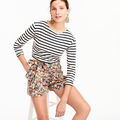 J.Crew Tie-Waist Short ($100) ❤ liked on Polyvore featuring shorts, floral shorts, floral printed shorts, short cotton shorts, cotton shorts and flower print shorts