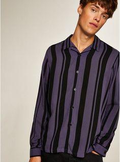 Mens Purple and Black Stripe Revere Shirt Formal Shirts For Men, Long Sleeve And Shorts, Velvet Fashion, Collar Shirts, Shirt Shop, Purple And Black, Black Stripes, Shirt Outfit, Men Casual