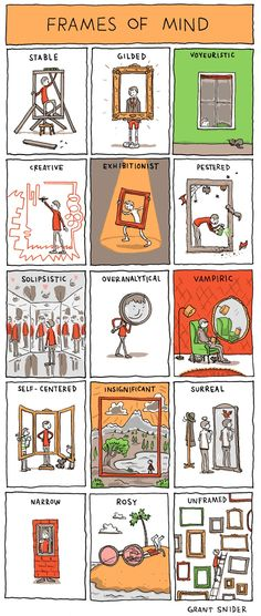 """Frames of Mind"" is a comic that illustrates different moods by orthodontist and cartoonist Grant Snider (previously) of Incidental Comics. image via Incidental Comics"