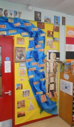 River Nile of words   Visual display for familiarising children with key topic words. From experience I find this display creates great excitement and buzz about the topic of the Egyptians.  As the topic develops the children add their own pieces of work which are linked to the topic.