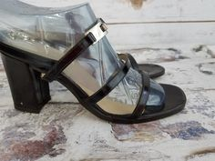 2f3842a9003 Adrienne Vittadini Black Patent Leather Straps Sandals sz 6M Made in Italy   AdrienneVittadini  Sandals