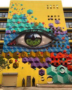 Street Art by MyDogSighs & in Shenzhen, China. 3d Street Art, 3d Street Painting, Amazing Street Art, Street Art Graffiti, Street Artists, Yarn Bombing, Inspiration Art, Art Mural, Murals