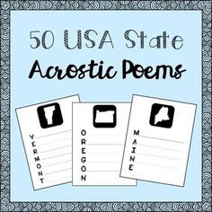 USA States Acrostic Poems for all 50 States!!!
