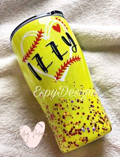 Baseball and Softball mom tumbler -  Excited to share this item from my #etsy shop: Softball tumbler/tumbler with straw/personalized/gif -