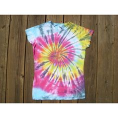 Medium Ladies Rainbow Spiral Tie Dye T Shirt ($20) ❤ liked on Polyvore featuring tops, t-shirts, black, women's clothing, black cap sleeve top, tie dyed tops, tye die t shirts, tie die t shirts and black t shirt