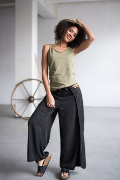 576232190f KOKOworld · Summer 2018 Collection · Atlantic trousers are tied at the  front and back in the waist