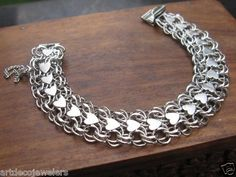 """Vintage Silver Wide Double Heart Link Charm Bracelet for Charms 7 1 2"""" 28 76g   eBay"""