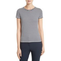 Women's Theory Rodiona Stripe Tee ($85) ❤ liked on Polyvore featuring tops, t-shirts, stripe top, navy and white striped top, short sleeve t shirts, nautical stripe t shirt and short sleeve tee