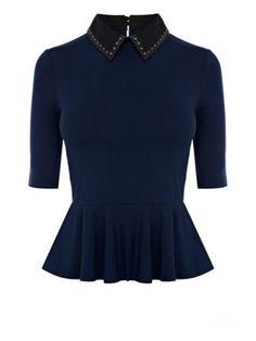 Karen Millen Stud collar peplum T-shirt Dark Blue - House of Fraser