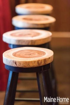 Loving these wood slices as stool toppers!