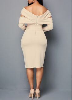 2020 Women Dresses Zipper Back Off the Shoulder Belted Sheath Dress Tight Dresses, Sexy Dresses, Dress Outfits, Casual Dresses, Fashion Outfits, Fashion Fashion, Party Dresses, Fashion Women, Fashion Shoes