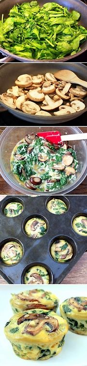 Such an easy way to make breakfast for the whole week: Spinach Quiche Cups recipe Honestly, all I do is dump whatever I want into a bowl with 10-15 eggs and bake it at 350 for about 30 minutes.