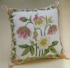 Christmas Rose Cross Stitch Pin cushion kit by ColeshillCollection on Etsy https://www.etsy.com/listing/218320947/christmas-rose-cross-stitch-pin-cushion