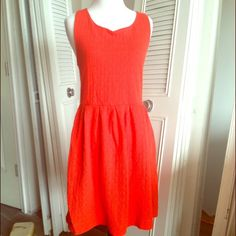 """Anthropologie Deletta orange shift dress Cute! Thick cotton blend. Color is a little faded but still has a lot of life left. Measurements laying flat are: bust 17"""", waist 15.5"""", length from shoulder 36"""". Anthropologie Dresses"""