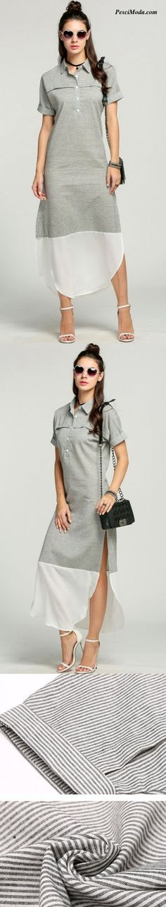 Product Description: Fashion Women Lapel Batwing Sleeve Side Slit Maxi Long Striped Shirt Dress. Material: Polyester and Cotton, Color: Gray, Design: Side Slit, Season: Summer, Autumn, Collar: Lapel,