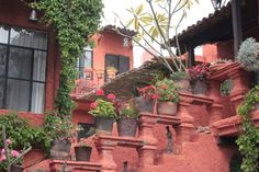great stairs off of a courtyard - San Miguel de Allende
