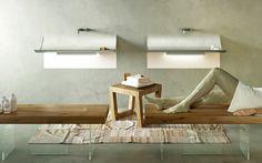 Salle de bain design.  Lavabo Skin ultra moderne avec système LED dessous pour donner de l'intensité au design. En couleur vert Argille. Design by Lago #Mettezduvertdansladéco #lago #vert #green #salledebaindesign #lavaboskin