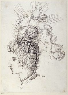"""Reinette: Costumes by Inigo Jones and Buontalenti. Sketch for a helmet for The Queen of the Sea from 'The Masque of Queens"""",1609"""