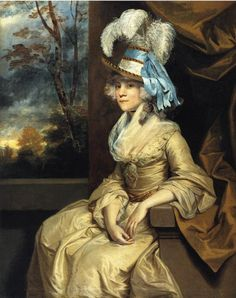 Lady Taylor, ca 1780. Lady Taylor wears a feathered stovepipe hat and sleeves with large cuffs while her neckline is filled in with a fichu in this 1780 Reynolds portrait.