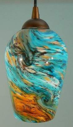 Turquoise, Terracotta, and Caramel Swirl Hand Blown Art Glass Pendant Hanging… Chandelier Art, Pendant Lighting, Foyer Lighting, Kitchen Lighting, Lighting Ideas, Lighting Design, Chandeliers, Blown Glass Pendant Light, Glass Pendants