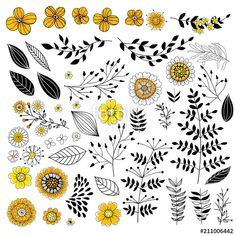 "Download the royalty-free vector ""Doodle flowers in yellow and black"" designed by katerinamk at the lowest price on Fotolia.com. Browse our cheap image bank online to find the perfect stock vector for your marketing projects! #adobestock #clipart #designelement #doodle #flower #set #collection #element #vector #katerinakart"