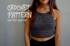 Crochet Pattern Crochet Crop Top Festival Outfit Lace Up