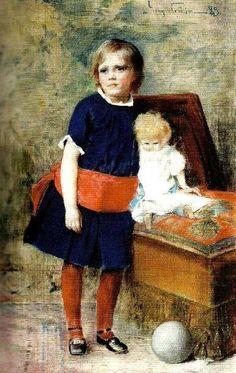 Girl With Doll-Jenny Nystrom (1854 – 1946, Swedish)
