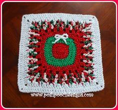 Christmas Wreath 12 Inch Afghan Square Crochet Pattern By Sara Sach of Posh Pooch Designs This is the and last Croche. Christmas Crochet Blanket, Crochet Snowman, Christmas Crochet Patterns, Holiday Crochet, Crochet Motif Patterns, Granny Square Crochet Pattern, Crochet Squares, Granny Squares, Crochet Granny