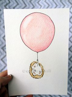 Beautiful original Nursery Art. Baby hedgehog pink balloon. Pink Nursery!